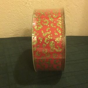 Christmas Ribbon 50 Yrds Red & Glitter Green NWT